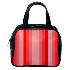 Red Monochrome Vertical Stripes Classic Handbags (one Side)
