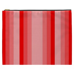 Red Monochrome Vertical Stripes Cosmetic Bag (xxxl)