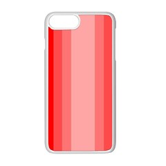 Red Monochrome Vertical Stripes Apple Iphone 8 Plus Seamless Case (white) by Nexatart