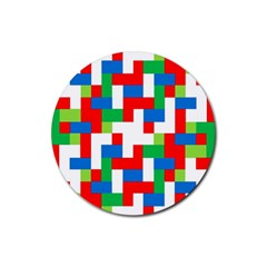 Geometric Maze Chaos Dynamic Rubber Round Coaster (4 Pack)