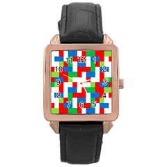 Geometric Maze Chaos Dynamic Rose Gold Leather Watch