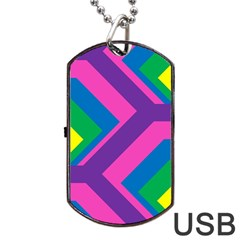 Geometric Rainbow Spectrum Colors Dog Tag Usb Flash (two Sides)