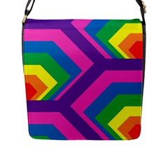 Geometric Rainbow Spectrum Colors Flap Messenger Bag (l)