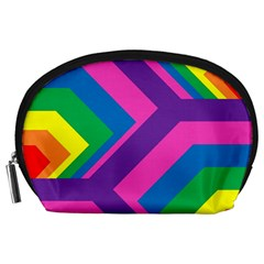 Geometric Rainbow Spectrum Colors Accessory Pouches (large)  by Nexatart