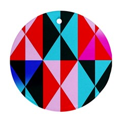Geometric Pattern Design Angles Round Ornament (two Sides)