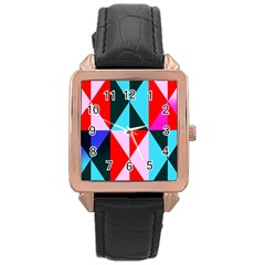 Geometric Pattern Design Angles Rose Gold Leather Watch