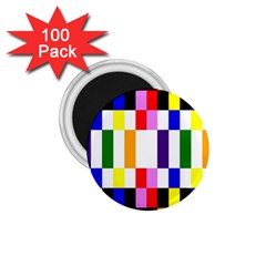 Rainbow Color Blocks Red Orange 1 75  Magnets (100 Pack)  by Nexatart