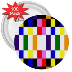 Rainbow Color Blocks Red Orange 3  Buttons (100 Pack)  by Nexatart
