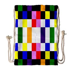 Rainbow Color Blocks Red Orange Drawstring Bag (large)
