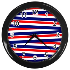 Red White Blue Patriotic Ribbons Wall Clocks (black)