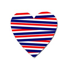 Red White Blue Patriotic Ribbons Heart Magnet by Nexatart