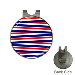 Red White Blue Patriotic Ribbons Hat Clips With Golf Markers