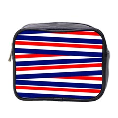 Red White Blue Patriotic Ribbons Mini Toiletries Bag 2 Side by Nexatart