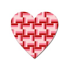 Pink Red Burgundy Pattern Stripes Heart Magnet by Nexatart