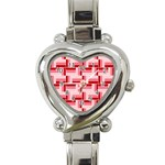 Pink Red Burgundy Pattern Stripes Heart Italian Charm Watch Front