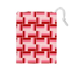 Pink Red Burgundy Pattern Stripes Drawstring Pouches (large)  by Nexatart