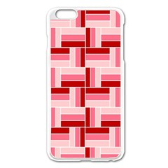 Pink Red Burgundy Pattern Stripes Apple Iphone 6 Plus/6s Plus Enamel White Case