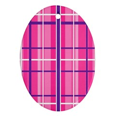 Gingham Hot Pink Navy White Ornament (oval)