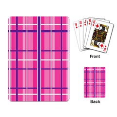 Gingham Hot Pink Navy White Playing Card