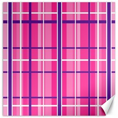Gingham Hot Pink Navy White Canvas 16  X 16
