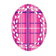 Gingham Hot Pink Navy White Oval Filigree Ornament (two Sides) by Nexatart