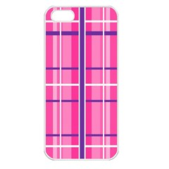 Gingham Hot Pink Navy White Apple Iphone 5 Seamless Case (white)