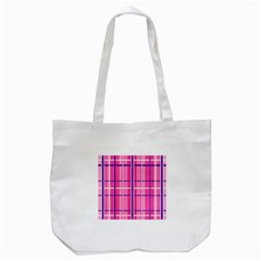 Gingham Hot Pink Navy White Tote Bag (white) by Nexatart