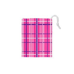 Gingham Hot Pink Navy White Drawstring Pouches (xs)