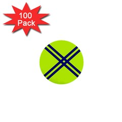 Stripes Angular Diagonal Lime Green 1  Mini Buttons (100 Pack)