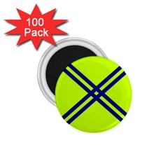 Stripes Angular Diagonal Lime Green 1 75  Magnets (100 Pack)  by Nexatart