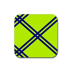 Stripes Angular Diagonal Lime Green Rubber Square Coaster (4 Pack)
