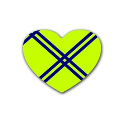 Stripes Angular Diagonal Lime Green Rubber Coaster (heart)