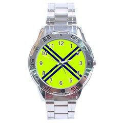 Stripes Angular Diagonal Lime Green Stainless Steel Analogue Watch