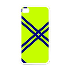 Stripes Angular Diagonal Lime Green Apple Iphone 4 Case (white) by Nexatart