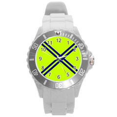 Stripes Angular Diagonal Lime Green Round Plastic Sport Watch (l)