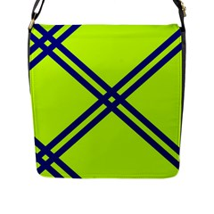Stripes Angular Diagonal Lime Green Flap Messenger Bag (l)  by Nexatart