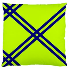 Stripes Angular Diagonal Lime Green Large Flano Cushion Case (two Sides) by Nexatart