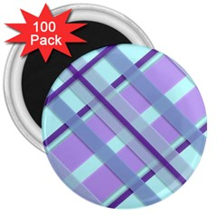 Diagonal Plaid Gingham Stripes 3  Magnets (100 Pack) by Nexatart