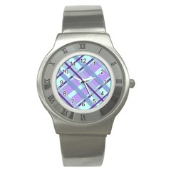 Diagonal Plaid Gingham Stripes Stainless Steel Watch