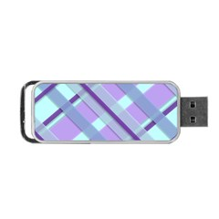 Diagonal Plaid Gingham Stripes Portable Usb Flash (two Sides)