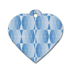 Blue Monochrome Geometric Design Dog Tag Heart (one Side)