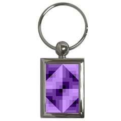 Purple Geometric Cotton Fabric Key Chains (rectangle)