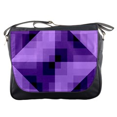 Purple Geometric Cotton Fabric Messenger Bags by Nexatart
