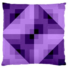 Purple Geometric Cotton Fabric Large Cushion Case (two Sides) by Nexatart