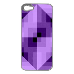 Purple Geometric Cotton Fabric Apple Iphone 5 Case (silver) by Nexatart