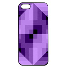 Purple Geometric Cotton Fabric Apple Iphone 5 Seamless Case (black) by Nexatart