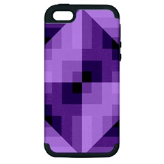 Purple Geometric Cotton Fabric Apple Iphone 5 Hardshell Case (pc+silicone) by Nexatart