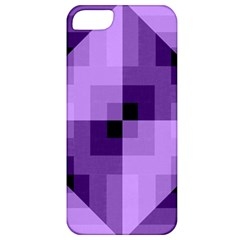 Purple Geometric Cotton Fabric Apple Iphone 5 Classic Hardshell Case by Nexatart