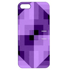 Purple Geometric Cotton Fabric Apple Iphone 5 Hardshell Case With Stand by Nexatart