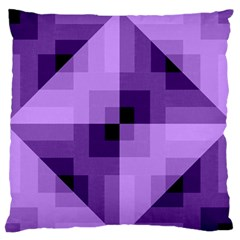 Purple Geometric Cotton Fabric Large Flano Cushion Case (two Sides) by Nexatart